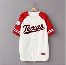 Wholesale Baseball Jacket Women Letter S - High quality summer baseball uniform jacket with short sleeves Men and women loose baseball T-shirt size 3 xl hip hop T-shirt