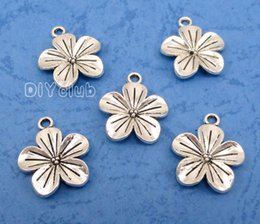 Wholesale Lotus Flower Jewelry Gold - 50pcs-Antique Silver Gold Lotus Flower Four Leaf Clover Sunflower Charms Pendant Handmade Lovely Connector DIY Jewelry Making