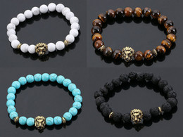 Wholesale People Charms - New Arrive Agate Lava Kallaite Stone Gold Lion Head Charm Beaded Bead Strands Braclelet Bangle For Fashion People