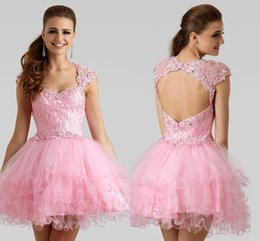 Wholesale Sexy Party Coctail Dresses - Formal Cutie Short A-Line Lace Christmas coctail Dress Pink Puff Party Gown Beaded Tulle Mini Cocktail Dresses HY1641