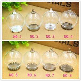 Wholesale Glass Vials Jewelry Wholesale - 30x20mm empty clear glass globe with base set glass dome cover glass vial pendant charms fashion jewelry findings,8 designs choose