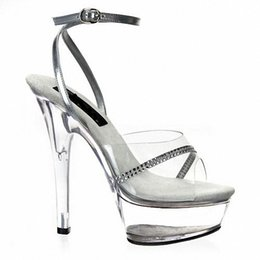 Wholesale Shining Crystal High Heels - Stylish Shining Rhinestones 15CM Sexy Platforms High Heel Shoes Pole Dance Sandals 6 Inch Performance Sexy Crystal Wedding Shoes