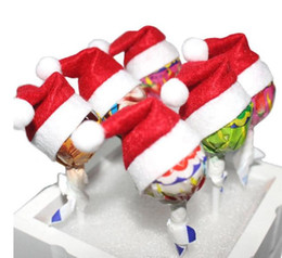 Wholesale Mini Santa Hats - 2017 New Mini Cute Santa Claus Hat Christmas Xmas Holiday Lollipop Top Topper Decor indoor Chrismas decoration 6pcs lot