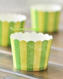 Wholesale Muffin Case Green - Free Shipping green yellow small cupcake cases cups, cheap muffin cake decorating tools baking cup necessaries for wedding party