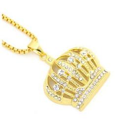 Wholesale lab diamond pendant - 14K gold Lab Diamond Hip hop crown pendant necklace ladies crown necklace