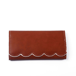 Wholesale Christmas Light Photos - PU Faux Leather Women Long Wallets Good Quality Light Brown Mint Color Money Holder Scalloped Purses Free Shipping to US DOM103389