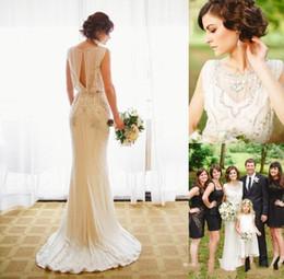 Wholesale wedding dress crystal beading designs - New Crystal Design Sweep Train Sexy Back 2017 Sheath Wedding Dresses Jewel Illusion sleeveless Beaded Collar Empire Beading Wedding Gowns