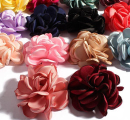 multi flower brooches 2018 - DIY Headband Rose Flowers Camellia With Fire-finished Edge Fit Hairclips Shoes Brooch Ornament Baby Girl Clothing Hair Accessories