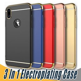 Wholesale Red Dirt Cases - 3 in 1 Matte Frosted Electroplating Removable Hard PC Hybrid Back Cover Case For iPhone X 8 7 6 6S PLus Samsung S8 Plus S7 S6 Edge