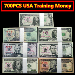Wholesale People Gifts - 700PCS USA Dollars Movie Props Money $100 50 20 10 5 2 1 Bank Staff Training Learning Banknotes Home Decoration Arts Collectible Gifts