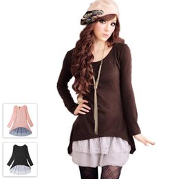 Wholesale Korean Two Piece Dresses - L~3XL Korean Slim Lace Faux Two-piece Long Sleeve Dresses 2016 Spring Autumn Plus Size Women Clothing Pink Black Brown