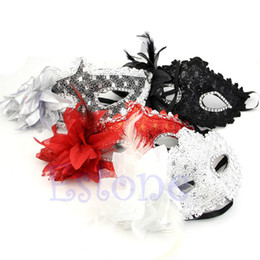 Wholesale Lace Masquerade Masks For Women - New Arrival Sexy Venetian Lace Feather Ball Masquerade Mask Paillette Flower Party Eye Masks