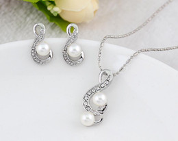 Wholesale Ladies Freshwater Pearl Necklace - Jewelry set Lady necklace&earring sets 925 sterling silver freshwater pearl Music necklace and stud earrings for women