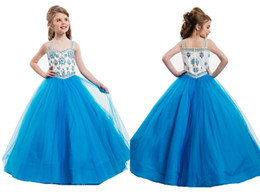 Wholesale Kids Bridesmaid Dresses Beaded - Little Cute Girls Pageant Dress With Halter Crystals Beaded Ball Gowns Occasion Ball Gowns Wedding Bridesmaid Flower Kids Dresses