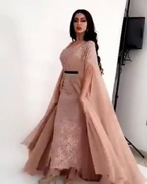 Wholesale Long Sleeve Smock - 2017 Strapless Sheath Evening Dresses Long-Sleeved Slit Smock Floor Length Sweep Train Special Occasions Gowns
