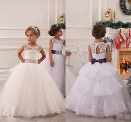 Wholesale Layered Lace Wedding Dress - 2016 New Elegant Lace Flower Girl Dresses Tulle Ball Gown Layered Lace Applique Beaded Bow Sash Girl Pageant Dresses BO8326