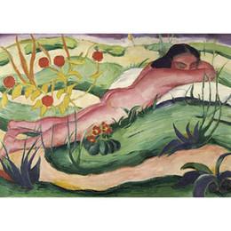2019 contemporâneo flores pinturas Pinturas a óleo de arte contemporânea Nu Deitado Nas Flores Franz Marc reprodução da lona pintados à mão decoração da parede contemporâneo flores pinturas barato