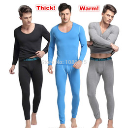 Wholesale Thermo Thermal Clothes - Wholesale-Fahion Mens Thermal Underwear Long Johns Man Winter Warm Velvet Thermo Clothes Qualuty Ropa Interior Hombre Pajamas Set CK30