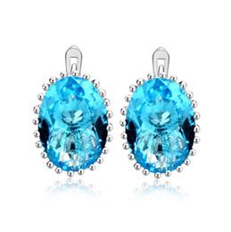 Wholesale blue diamond stud earrings - New Fashion 18K White Gold Plated AAAA Big Blue CZ Diamond Earrings for Girls Women for Wedding Party