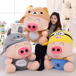 Wholesale Minion Birthday - Cartoon Mcdull pig plush toy turned to relaxed bear, minion,totoro soft throw pillow toy birthday gift