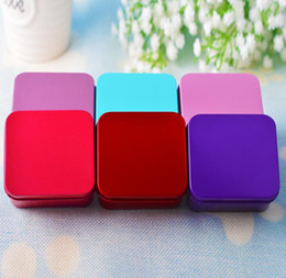 Wholesale Tea Tin Europe - 8.5*8.5*4.5cm High Quality Colorful Tea Caddy Tin Box Jewelry Storage Case Square Metal Mini Candy Box