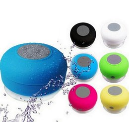 Wholesale Water Proof Mp3 Speakers - Wholesale 20pcs lot Portable Water-proof Wireless Bluetooth Speaker subwoofer Shower Car Handsfree Music Suction Phone Mic Promotional