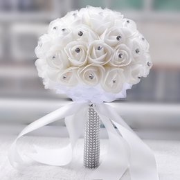 Wholesale Crystal Decorations Roses - 2017 Crystal Bridal Bouquet White Ivory Artificial Rose Flower Rhinestone Centerpiece Bridesmaid Hand Flower Wedding Decoration