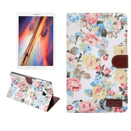 Wholesale Flower Tabs - Flower Jean Cloth Wallet Flip Leather Case Cover with Credit Card Holder for Samsung galaxy Tab E 8inch T377 wallet smart case