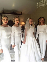 Wholesale Winter Outfits For Party - 2018 White Pants Jumpsuit Bridesmaid Gowns Pant Suits Party Dresses for Wedding Long Sleeves Outfit Bridesmaids Dresses with Bow Waistband