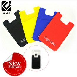 Wholesale Custom Cellphone - DIY LOGO Custom Adhesive Silicone Smart Phone Wallet Credit ID Card Holder Sticky Smart Cellphone Silicone Pouch Back Holder Sticker Bags