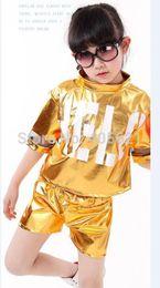 Wholesale girl suit dance costume - Candy color England letter jazz modern hip-hop sequins split suits Children's Dancewear Girls Performance Clothes Stage Costume