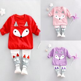Wholesale Tracksuits For Baby Girls - INS Baby Kids Fox Outfits Tracksuits For 0-4 Years Old Long Sleeves Outfit Blouses Pants 2pc Set Girls Clothing Set Fall Clothing