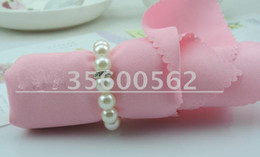 Wholesale Wholesale Banquet Tables For Sale - Cheap Sale White Pearl Diamond Napkin Rings For Hotel Wedding Banquet Table Decoration Accessories Party Supplies
