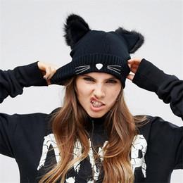 Wholesale Womens Fur Wool Hat - Warm Winter Hat For Women Wool Knitted Womens Cat Ears Faux Mink Hats Skullies Fur Pompom Caps Female Beanies Bonnet Femme