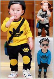 Wholesale 2t T Boys - 2017 Spring Autumn baby girls clothing set kids sweatshirt tracksuit boys Sport suit long sleeve children t shirt pants clothes