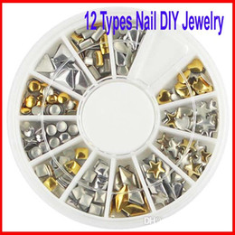 Wholesale Diy Nail Jewelry Accessories - Beauty Crystal Rhinestones Punk Rivet Nail Tips Art Decoration 3D Nail DIY Jewelry Accessories Diamonds Rivets Metal Nails Nest 300pcs lot