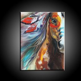 Wholesale Asian Wall Panels - Horse,Pure Hand Painted Asian modern Wall Decor Art Oil Painting On High Quality Canvas. Free Shipping,customized size accepted moore20