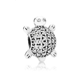 Wholesale Turtle Charms For Bracelets - Fit Pandora Charm Bracelet Adorable Turtle European Silver Charms Sealife Crystal Beads DIY Snake Chain For Women Bangle Necklace Jewelry