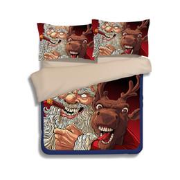 Ensemble de literie cerf reine en Ligne-Cadeau de Noël Père Noël Elk Deer Impression Literie Ensembles Twin Full Queen King Size Tissu Housse de Couette Coton Oreiller Douillette Douillette Présente