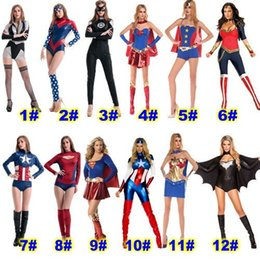 Wholesale Spider Woman Hot - HOT Halloween Costumes Cosply clothing for woman Marvel hero Batman captain America spider man Party Costumes Halloween clothing DHL Free