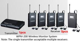 Wholesale Takstar Ear Monitor System - Boutique Takstar WPM-200 UHF Wireless Monitor System Stereo In-Ear Wireless Headphones Transmitter 1pcs+5pc Receiver+5 earphone free ship
