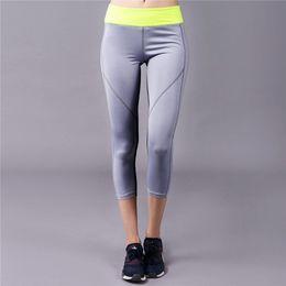 Wholesale Nylon Yoga Pants - BARBOK 2017 Women Yoga Pants 3 4 Length High Elasticity Legging High Waist Fitness Sport Gym Training Tights Compression Pants