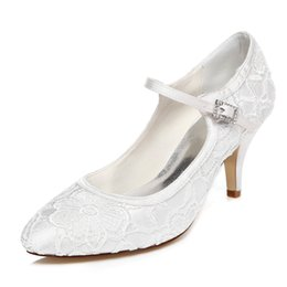 Wholesale Cheap Large Size Shoes - Handmade Flower Lace Wedding Shoes Ivory Bridal Shoes Bridesmaid Shoes Banquet Dress Shoes Pumps 7.5cm Large Size Cheap price small Size 35