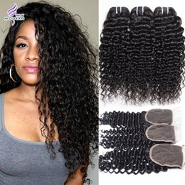 Wholesale Deep Curly Virgin Hair - 3 Bundles with Lace Closure Brazilian Virgin Hair Bundles Brazilian Deep Wave Curly Weave Hair Human Hair Bundles with Lace Closure