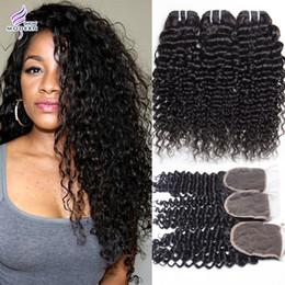 Wholesale Brazilian Curly Bundles - 3 Bundles with Lace Closure Brazilian Virgin Hair Bundles Brazilian Deep Wave Curly Weave Hair Human Hair Bundles with Lace Closure