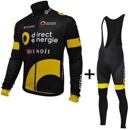 Maglia gialla bicicletta gialla online-PANTALONCINO INVERNALE CICLISMO LUNGO JERSEY LUNGO ROPA CICLISMO + PANTALONE BIBINO 2016 DIRECT ENERGIE PRO TEAM NERO GIALLO 3D GEL PAD-PICK TAGLIA: XS-4XL G33
