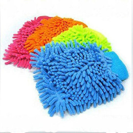 Wholesale car scratch cleaner - Wholesale- 1pc Microfiber Household Car Wash Washing Cleaning Gloves Car Washer Anti Scratch Soft Hand Coral Chenille Fleece Cleaning Glove