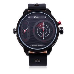 Wholesale Men S Analog Wrist Watches - OULM Unique Designer Man s Sport Outdoor Movement Big Dial Quartz Wrist Watch Dual Time Display Strap Wristband