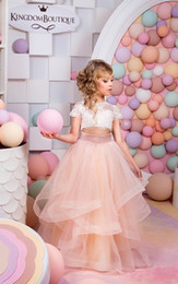 Wholesale Halloween Capes - 2016 New Fashion Two Piece Flower Girls Dresses Top Lace Cape Sleeve Blush Pink Tull Girls Pageant Gown First Communion Dresses Custom Cheap
