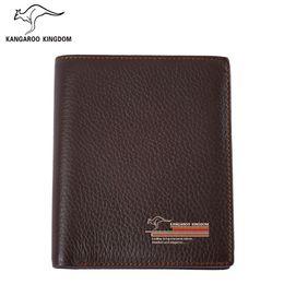 Wholesale Kangaroo Kingdom - Wholesale- Kangaroo Kingdom Famous Brand Men Wallets Genuine Leather Wallet Purse Short Design Casual Pocket Wallet